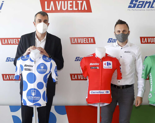 Javier Guillén, General manager of La Vuelta and Nicola Epicureo, Santini Cycling Wear Representative in Spain